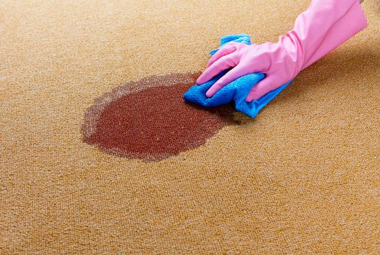 Gloved-hand-cleaning-a-wet-spot-on-floor